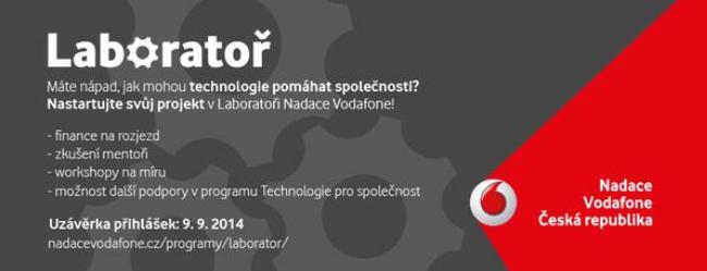 Využijte dalšího ročníku Laboratoře Nadace Vodafone